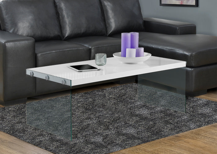 I 3286-COFFEE TABLE - GLOSSY WHITE WITH TEMPERED GLASS