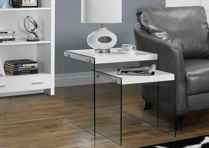 I 3287-NESTING TABLE - 2PCS SET / GLOSSY WHITE / TEMPERED GLASS