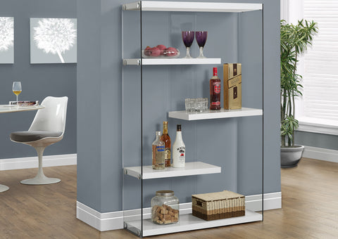 "BOOKCASE - 60""H / GLOSSY WHITE WITH TEMPERED GLASS"