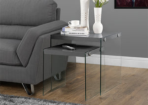 I 3293-NESTING TABLE - 2PCS SET / GLOSSY GREY / TEMPERED GLASS