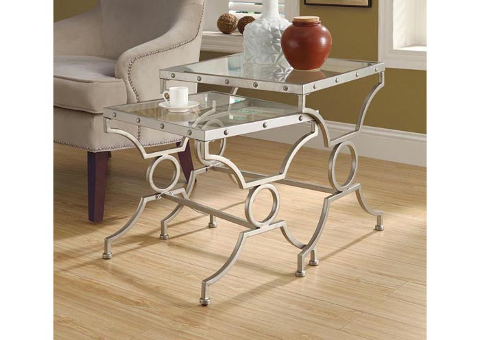 I 3321-NESTING TABLE - 2PCS SET / SILVER WITH TEMPERED GLASS