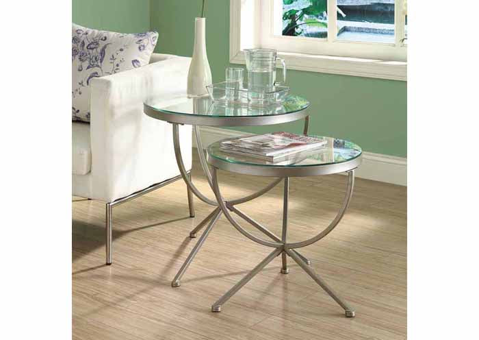 I 3322-NESTING TABLE - 2PCS SET / SILVER WITH TEMPERED GLASS