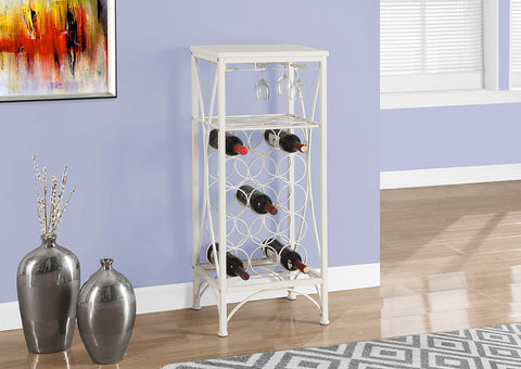 "HOME BAR - 40""H / WHITE METAL WINE BOTTLE AND GLASS RACK"