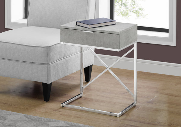 "I 3471 - ACCENT TABLE - 24""H / GREY CEMENT / CHROME METAL"