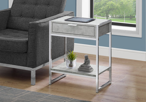 "I 3481 - ACCENT TABLE - 24""H / GREY CEMENT / CHROME METAL"