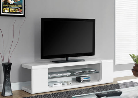 "I 3535-TV STAND - 60""L / HIGH GLOSSY WHITE WITH TEMPERED GLASS"