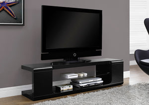 "I 3536-TV STAND - 60""L / HIGH GLOSSY BLACK WITH TEMPERED GLASS"
