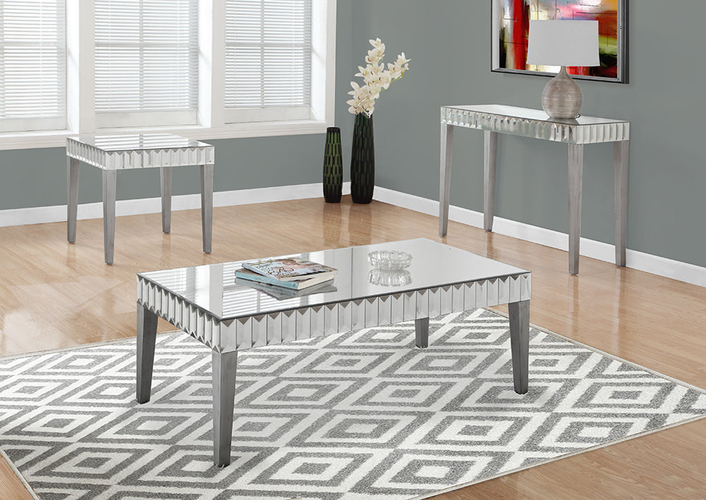 "I 3720-COFFEE TABLE - 48""X 24"" / BRUSHED SILVER / MIRROR"