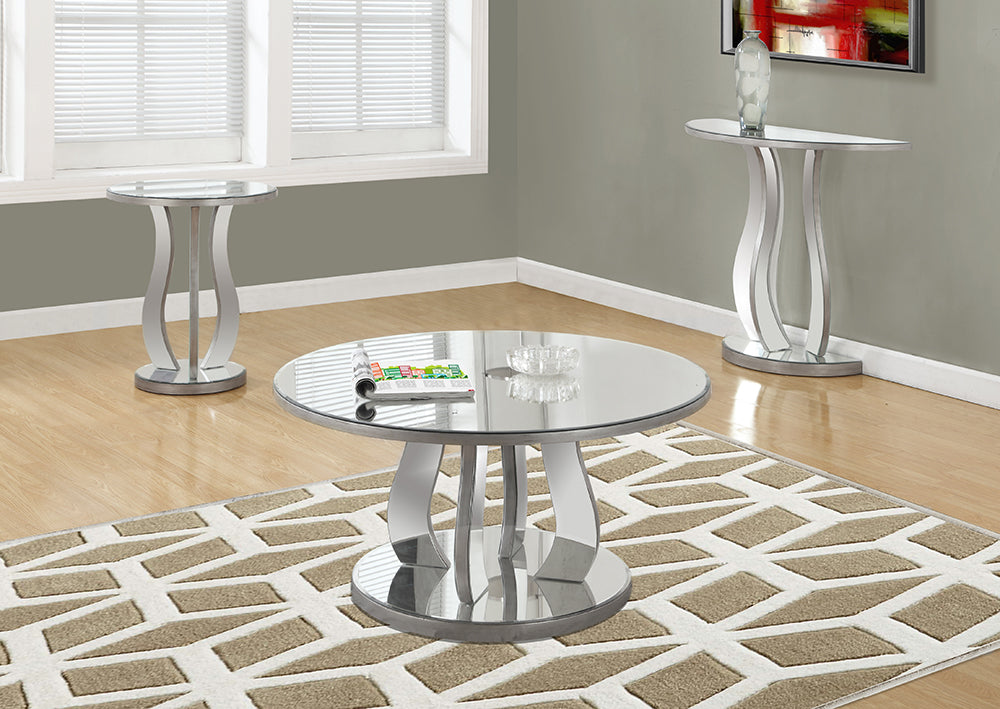 "I 3725-COFFEE TABLE - 36""DIA / BRUSHED SILVER / MIRROR"
