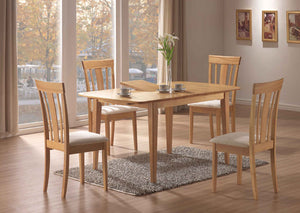 DINING CHAIR - 2PCS / MAPLE WITH FABRIC SEAT