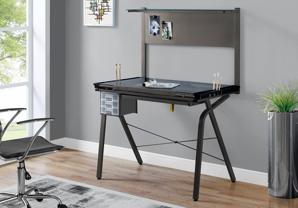 I 7034 - DRAFTING TABLE - ADJUSTABLE / GREY METAL / TEMPERED GLASS
