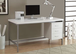 "COMPUTER DESK - 60""L / WHITE / SILVER METAL"
