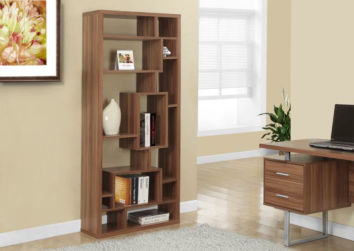 "BOOKCASE - 72""H / WALNUT"