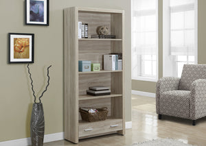 "BOOKCASE - 71""H / NATURAL WITH A STORAGE DRAWER"