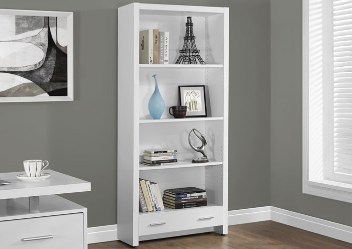 "BOOKCASE - 71""H / WHITE WITH A STORAGE DRAWER"