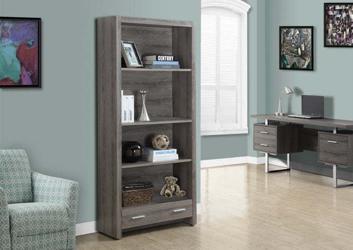 "I 7087 - BOOKCASE - 71""H / DARK TAUPE WITH A STORAGE DRAWER"