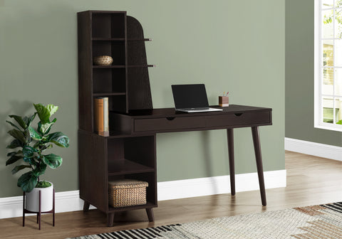 "I 7096 - COMPUTER DESK - 55""L / ESPRESSO WITH BOOKCASE"