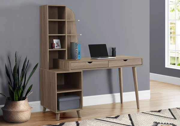 "I 7097 - COMPUTER DESK - 55""L / DARK TAUPE WITH BOOKCASE"