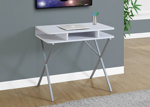 "I 7100 - COMPUTER DESK - 31""L / WHITE TOP / SILVER METAL"
