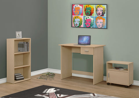 I 7103 - COMPUTER DESK - 3PCS SET / MAPLE DESK / BOOKCASE / CART