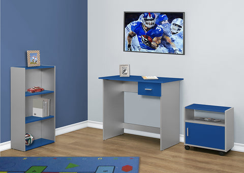 I 7106 - COMPUTER DESK - 3PCS / BLUE / SILVER DESK/ BOOKCASE/ CART