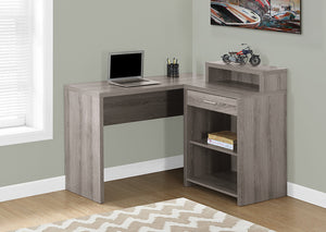 COMPUTER DESK - DARK TAUPE CORNER WITH STORAGE
