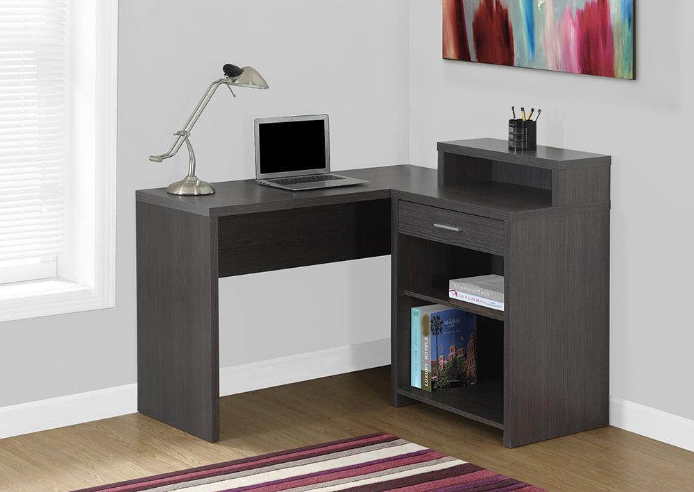 COMPUTER DESK - GREY CORNER WITH STORAGE