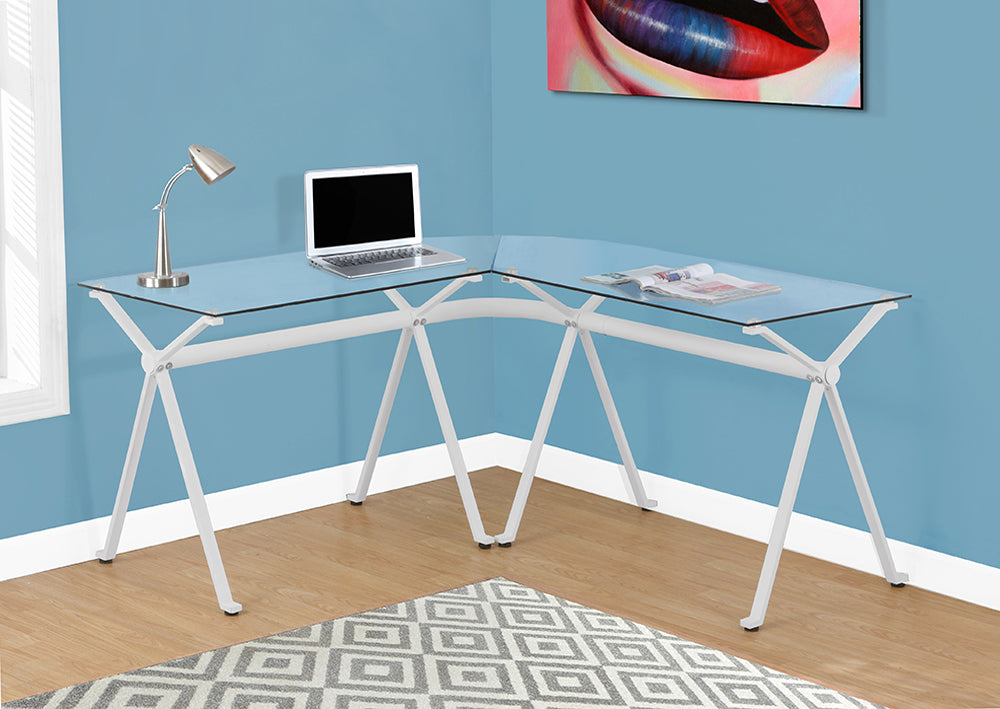 COMPUTER DESK - WHITE METAL WITH TEMPERED GLASS