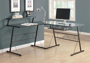 COMPUTER DESK - BLACK METAL CORNER WITH TEMPERED GLASS