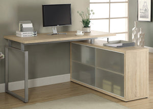 COMPUTER DESK - NATURAL CORNER WITH FROSTED GLASS