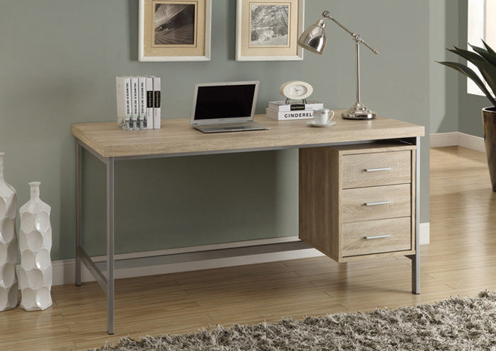 "I 7245 - COMPUTER DESK - 60""L / NATURAL WITH SILVER METAL"