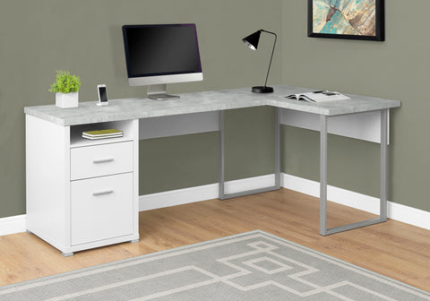 "I 7258 - COMPUTER DESK - 80""L WHITE / CEMENT-LOOK LEFT/RIGHT FACE"