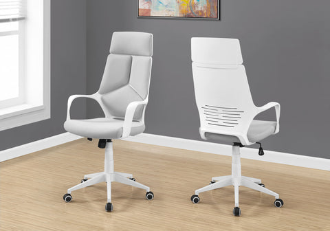 I 7270 - OFFICE CHAIR - WHITE / GREY FABRIC / HIGH BACK EXECUTIVE