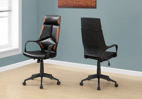 I 7271 - OFFICE CHAIR - BLACK / BROWN LEATHER-LOOK / EXECUTIVE