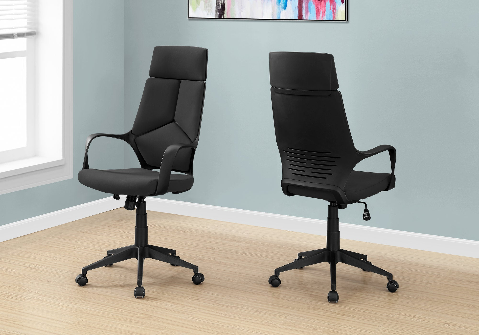 I 7272 - OFFICE CHAIR - BLACK / BLACK FABRIC / HIGH BACK EXECUTIVE