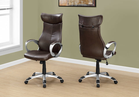 I 7289 - OFFICE CHAIR - BROWN LEATHER-LOOK / HIGH BROWN EXECUTIVE
