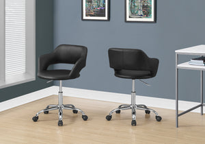 I 7298 - OFFICE CHAIR - BLACK / CHROME METAL HYDRAULIC LIFT BASE