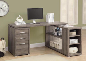 COMPUTER DESK - DARK TAUPE  / LEFT OR RIGHT FACING