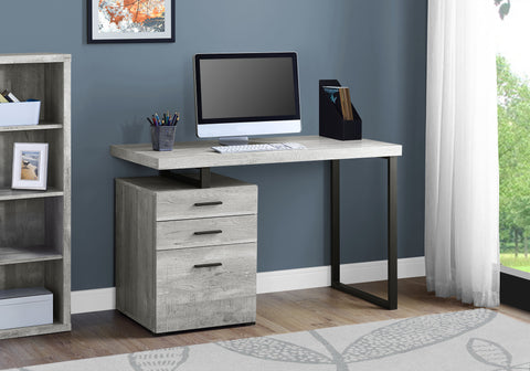 "I 7409 - COMPUTER DESK - 48""L / GREY RECLAIMED WOOD / BLACK METAL"