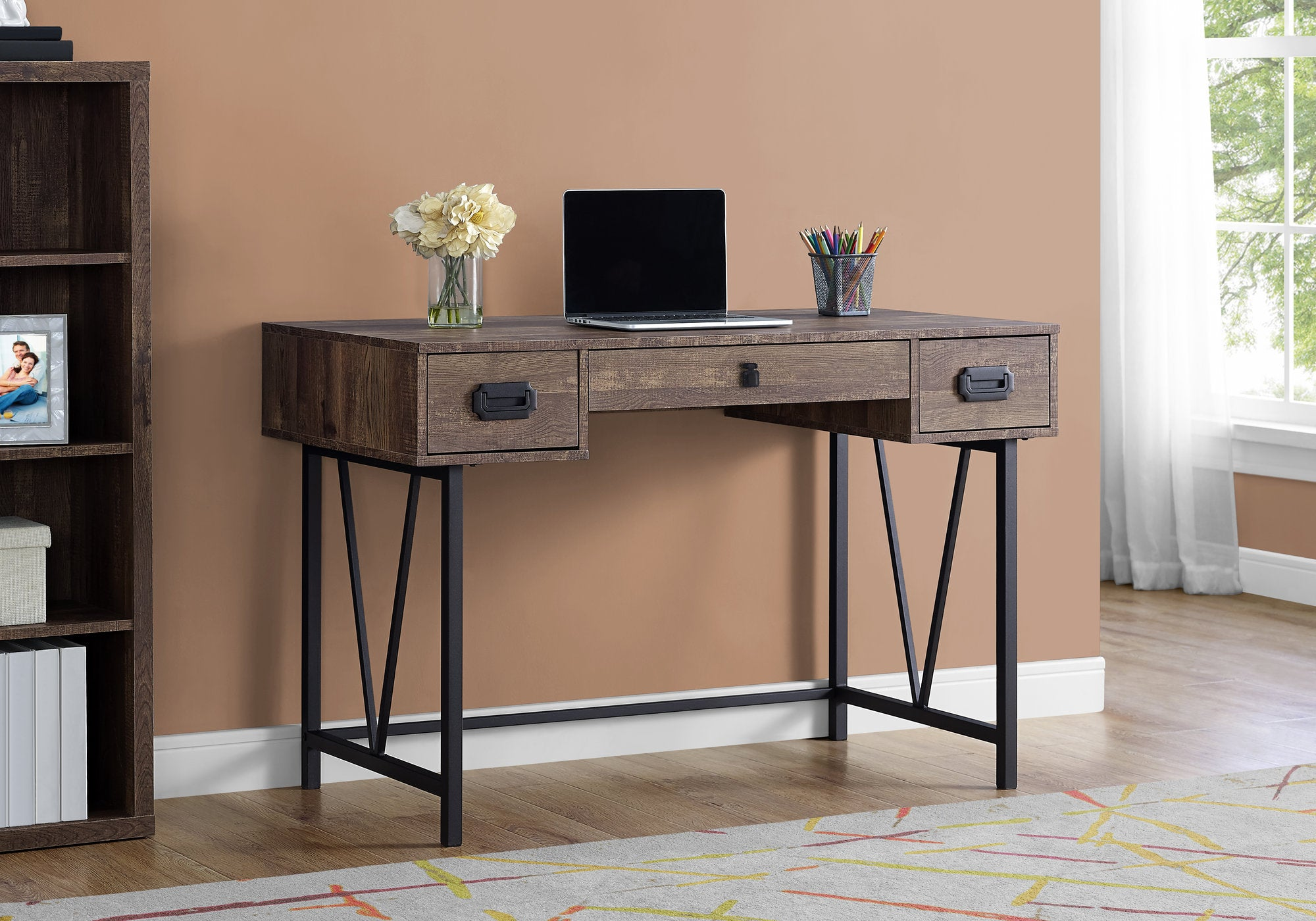 "I 7412 - COMPUTER DESK - 48""L / BROWN RECLAIMED WOOD / BLACK METAL"