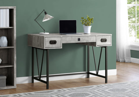 "I 7413 - COMPUTER DESK - 48""L / GREY RECLAIMED WOOD / BLACK METAL"