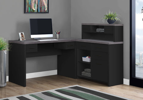 I 7430 - COMPUTER DESK - BLACK / GREY TOP LEFT / RIGHT FACING CORNER