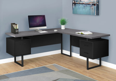 "I 7432 - COMPUTER DESK - 70""L / BLACK / GREY TOP LEFT / RIGHT FACING"