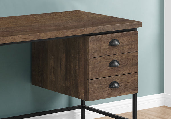 "I 7485 - COMPUTER DESK - 55""L / BROWN RECLAIMED WOOD / BLACK METAL"