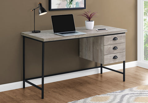 "I 7486 - COMPUTER DESK - 55""L / GREY RECLAIMED WOOD / BLACK METAL"