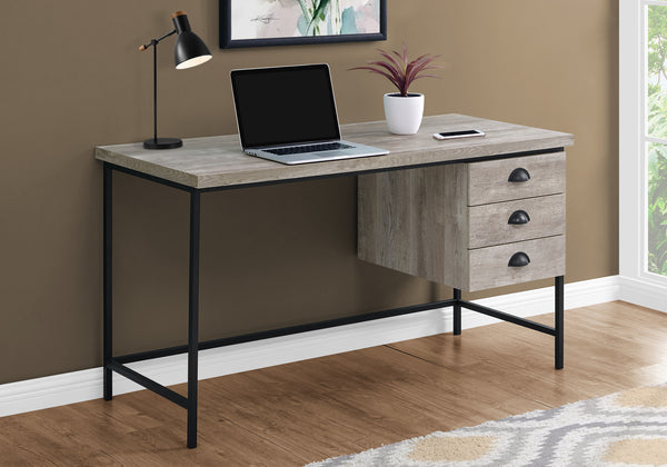 "I 7487 - COMPUTER DESK - 55""L / TAUPE RECLAIMED WOOD / BLACK METAL"