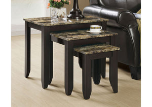 I 7982N-NESTING TABLE - 3PCS SET / CAPPUCCINO / MARBLE LOOK TOP