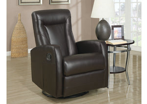RECLINER - SWIVEL ROCKER / DARK BROWN BONDED LEATHER