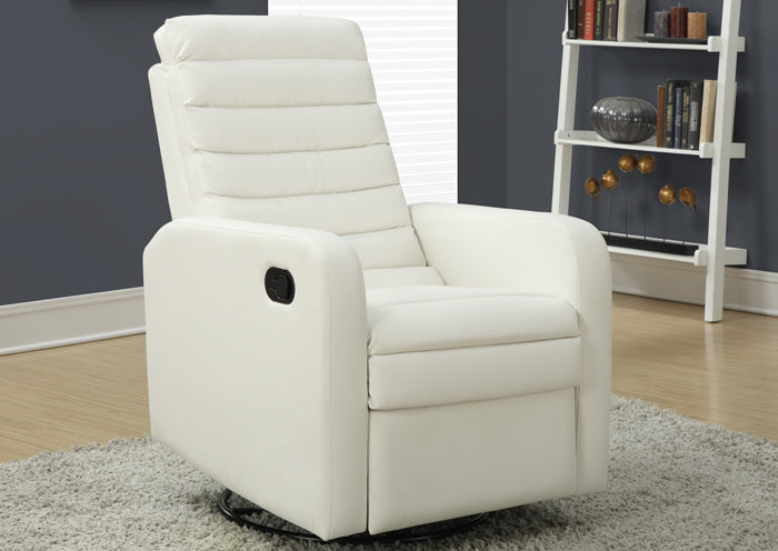 RECLINER - SWIVEL GLIDER / WHITE BONDED LEATHER FABRIC