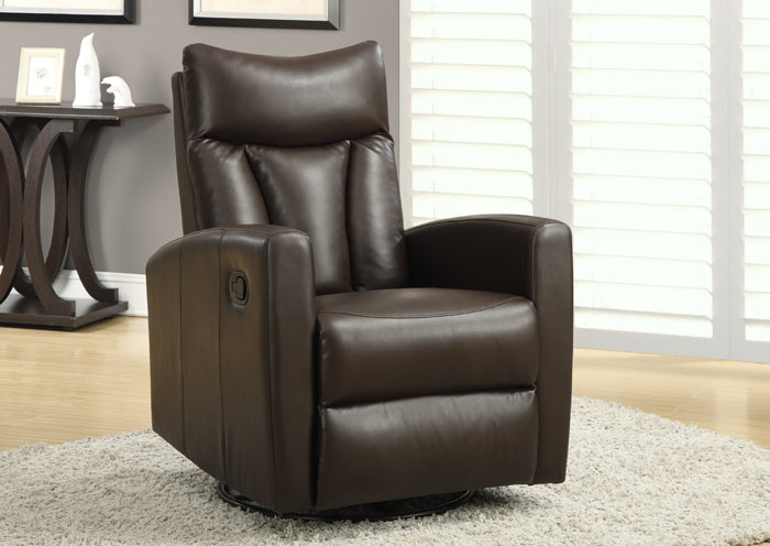 RECLINER - SWIVEL GLIDER / DARK BROWN BONDED LEATHER